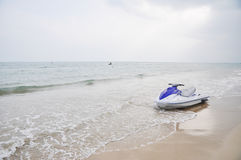 A mortorboat on beach Stock Images