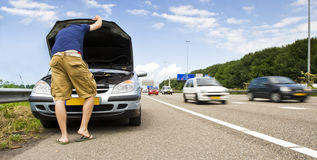 Mortorway car trouble royalty free stock images