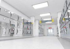 Mortuary light render. A look down the aisle of fridges in a clean white ward in a mortuary - 3D render Stock Photos