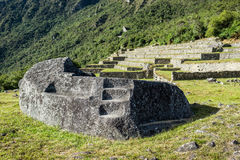 Mortuary rock Machu Picchu ruins peruvian Andes  Cuzco Peru Royalty Free Stock Photos