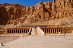 The Mortuary Temple of Hatshepsut, Is an ancient funerary shrine, Dedicated to the sun god Amon. Located on the west bank of the Nile river, Near Valley of the stock images
