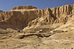Mortuary temple of Hatshepsut. Located beneath the cliffs at Deir el Bahari on the west bank of the Nile near the Valley of the Kings in Egypt. The mortuary Stock Photography