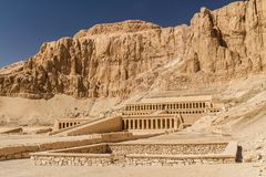 Mortuary Temple of Hatshepsut. The magnificent ancient Egyptian Mortuary Temple of Hatshepsut built into the side of the cliffs at Deir el Bahari, on the west stock images