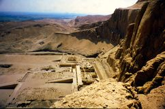 Mortuary Temple of Hatshepsut in Valley of the queens. Overview of the Mortuary Temple of Hatshepsut in the valley in the Queens outside Luxor, Eygpt stock photo