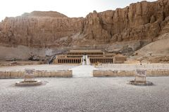 Mortuary Temple of Queen Hatshepsut. Tourists continued to swarm the historic sites of the Mortuary Temple of Hatshepsut, also known as the Djeser-Djeseru is a royalty free stock photo