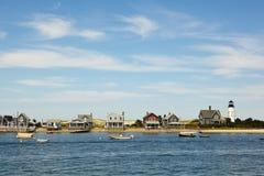 Morue de cap : maisons par la mer Image libre de droits