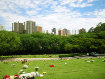 Morumbi Cemetery. Sao Paulo city skyline view stock photography