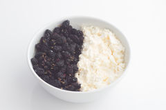 Morus nigra called Mulberry with black color and cottage cheese . In white plate. Mulberries Food royalty free stock photo