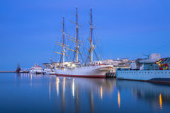 Morza Bałtyckiego schronienie w Gdynia przy nocą Fotografia Royalty Free