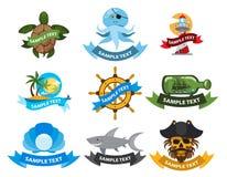 Morza i pirata logowie Obrazy Royalty Free