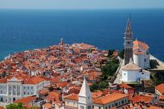 Morza Śródziemnomorskiego grodzki piran Slovenia zdjęcie royalty free