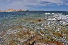 Morze Śródziemnomorskie blisko Korsykańskiego wybrzeża obrazy royalty free