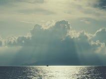 Morze Śródziemnomorskie przy zmierzchem Fotografia Stock
