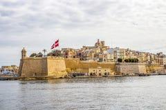 Morze Śródziemnomorskie widok Senglea, Malta obrazy royalty free