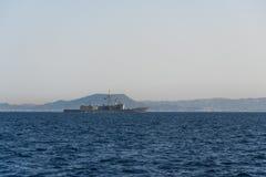 Morze Śródziemnomorskie Wrzesień 2017 - Boczny widok militarny turecki statek Zdjęcie Royalty Free