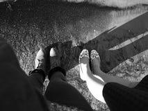 Morze Bałtyckie, woda, Ryska plaża, światło, nogi, przyjaciele Obraz Stock