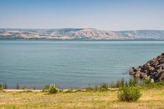 Morze brać od północnej części blisko Capernaum Izrael Galilee fotografia royalty free