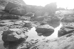 Morze, burza, osoba Zdjęcie Royalty Free
