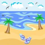 Morze, drzewka palmowe, iłołupek ilustracji
