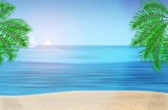 Morze, drzewka palmowe i tropikalna plaża pod błękitem, Zdjęcia Royalty Free