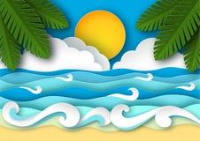 Morze fala i tropikalna plaża w papierowej sztuce projektują podróży pojęcia wektoru ilustracja ilustracja wektor