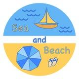 Morze, fala, plaża, jacht, plażowi kapcie, parasol royalty ilustracja