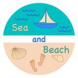 Morze, fala, plaża, jacht, seashells, odcisk stopy ilustracji