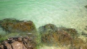 Morze fale rozbija na skalistym brzeg Piasek i kamienie możemy widzieć przez wody zbiory wideo