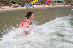 Morze falowa emocjonalna kobieta Obraz Royalty Free