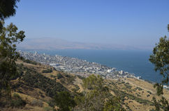 Morze Galilee i Tiberias Fotografia Stock