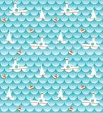 Morze i łodzie (tło) Royalty Ilustracja