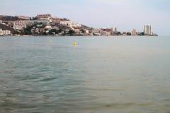 Morze i miasto Cullera, Hiszpania Zdjęcie Stock