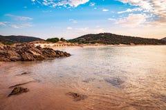 Morze i nieskazitelne plaże Chia, Sardinia, Włochy zdjęcia royalty free