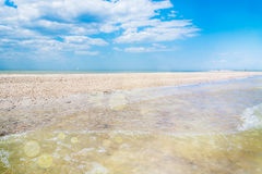Morze i piasek plujemy na lato ranku Obrazy Stock