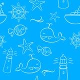 Morze I wakacji Doodles Bezszwowy wzór Zdjęcie Royalty Free
