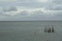Morze i wybrzeże na burzowym zima dniu, widzieć od plaży wewnątrz Zdjęcie Royalty Free
