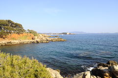 Morze i wybrzeże w Bandol, Francja Fotografia Stock