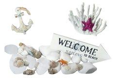 Morze kamienie, skorupy, korale, kotwica Fotografia Stock