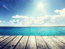 morze karaibskie i drewniany Fotografia Royalty Free