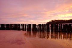 Morze krajobraz podczas wschód słońca, Bałtycki wybrzeże, Kolobrzeg, Polska obraz stock