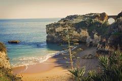 Morze krajobraz w Lagos, Portugalia Zdjęcie Stock