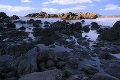 Morze krajobraz w Tenerife wyspa kanaryjska Tenerife długo ekspozycji Fotografia Stock