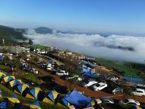 Morze mgła i camping przy Pu zakładką Buek Obraz Stock