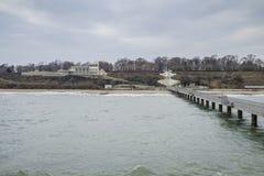 Morze mosta plaży widok Zdjęcie Stock