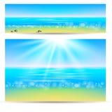Morze ocean i kamienie ilustracja wektor