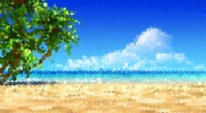 Morze, piasek, plaża i drzewka palmowe, krajobrazowy horyzontalny format ilustracja wektor