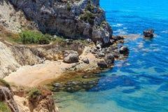 Morze plaża blisko Rocca Di San Nicola, Agrigento, Sicily, Włochy Zdjęcie Royalty Free