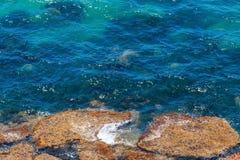 Morze plaża blisko Rocca Di San Nicola, Agrigento, Sicily, Włochy Zdjęcia Stock