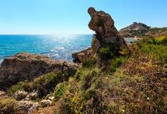 Morze plaża blisko Rocca Di San Nicola, Agrigento, Sicily, Włochy Fotografia Stock