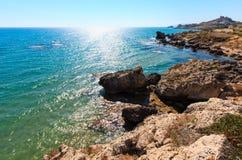 Morze plaża blisko Rocca Di San Nicola, Agrigento, Sicily, Włochy Obrazy Stock